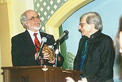 Former HWA Vice-president Robert Weinberg presents the 1995 Lifetime Achievement Award to Harlan Ellison